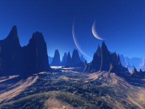 the landscape of a rocky alien planet. The sky is blue, but there are two moons in it.