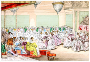 an illustration of a lively 19th century French ballroom. There are many dancers out on the floor dancing in elaborate gowns and tall hairstyles. There's even a chandelier hanging down in the middle of the ceiling