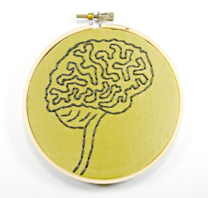 an embroidered piece of art featuring the human brain