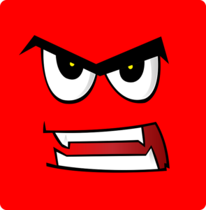 It's a red square with a cartoon angry face in it