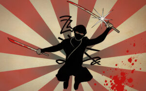 it's a drawing of a ninja holding a sword leaping dramatically towards the viewer of the image
