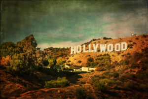 vintage postcard featuring the hollywood sign