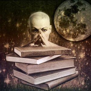 an artistic rendering of a person with their hands folded on the bridge of their nose who is standing behind a stack of books