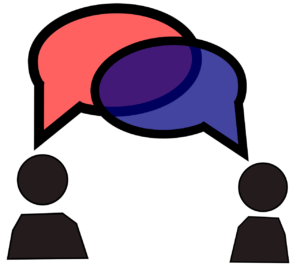 two stick figures with overlapping speech bubbles