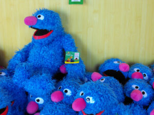 a pile of stuffed grovers