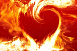 flames in the shape of a heart