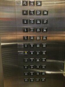 bank of elevator buttons