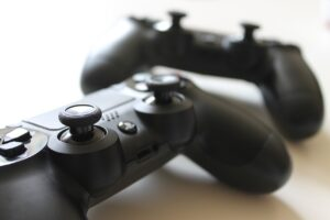 two black video game controllers