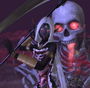 a computer generated image of a necromancer in front of a skeleton with glowing eyes