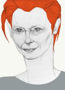 an illustration of actress Tilda Swinton