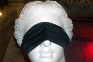 statue of Venus wearing a blindfold