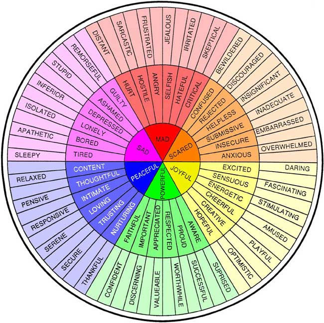 it's a rainbow colored wheel of feelings