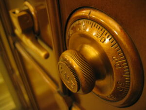 a closeup photo of a combination dial on a safe