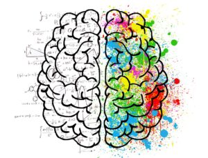 it's a drawing of a brain. The left half is black and white and has mathematical equations under it. The right half is splashed with multicolored paint.