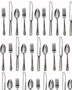 a drawing with many sets of illustrated forks, spoons, and knives