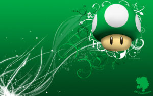 a green 1up mushroom from Mario games on a green background