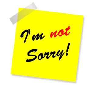 """clip art of a yellow sticky note that says """"I'm not sorry!"""""""