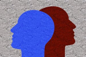 the silhouettes of two heads, one red and one blue, the skulls are overlapping yet they are facing away from one another