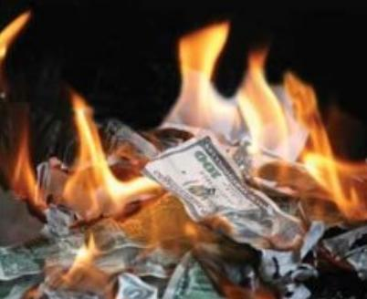 money that is on fire