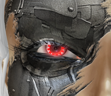 a closeup of a red glowing eye on a human/machine hybrid