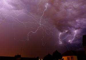 a thunderstorm mid-lightning strike