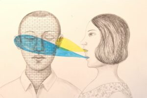an artist's rendering of two people. One of them is talking out of 2 mouths. Their conversation partner has their eyes closed and a brick wall textured over their face.