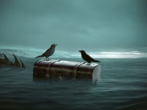 2 crows sitting on a trunk that's floating int he middle of the ocean