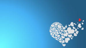 over a blue background, the image of a large white heart shape made up of several smaller heart shapes. A few are flying away from it, including one small red heart