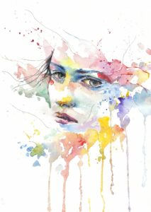 a drawing of a person's face set against a rainbow abstract watercolor background