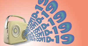 """a small yellow radio that has the words """"covid-19"""" coming out of it 5 times"""
