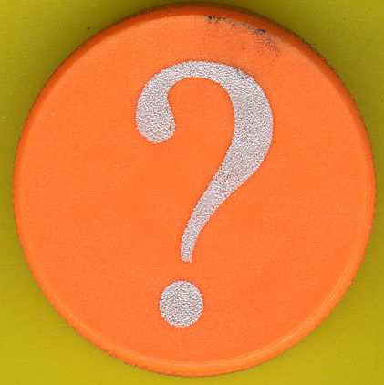a white question mark on a circular orange background against a yellow backdrop