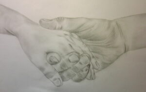 a pencil drawing of people holding hands