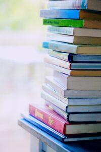 a closeup of a stack of books