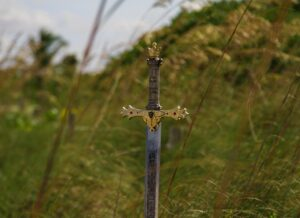 a sword stuck in the ground