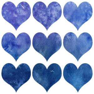 9 blue watercolor hearts in a 3x3 grid