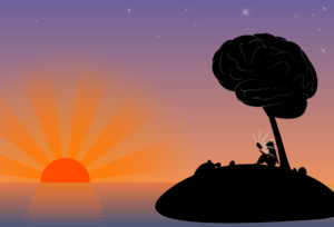 an illustration sunset on an island at sea. on the island, the silhouette of a person is sitting under a tree that has leaves shaped like a human brain.