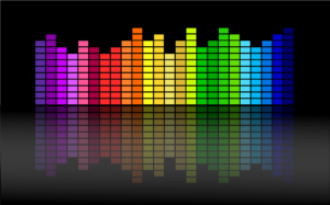 a rainbow colored equalizer