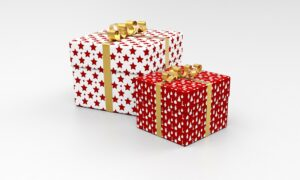 two gift-wrapped presents