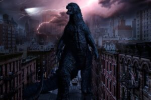 a giant lizard monster strolling through a city block while lightning crashes behind him