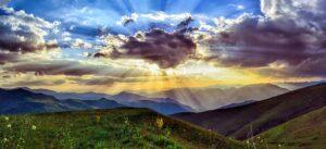 dawn over a mountain valley