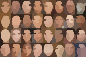 a collection of a few dozen blurry human faces