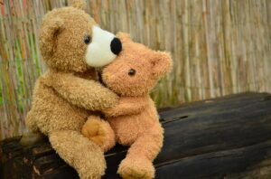 two stuffed animals cuddling each other