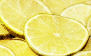 a closeup of a bunch of slices of lemon or lime