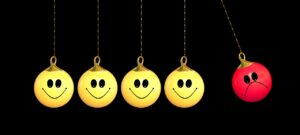 4 yellow happy face emojis dangling down on a string with a red frowning emoji on a string off the the right with the bad mood emoji lifted in the air in such a way that gravity will send it crashing into the other emojis