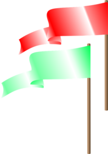 two flags, a red flag and a green flag