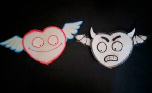 two flying hearts. The one on the left has angel wings. The one on the right has bat wings and evil horns