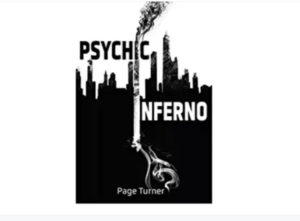 the front cover of the book Psychic Inferno by Page Turner... it's a silhouette of a city with smoke going above and underground below