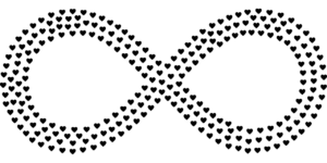 an infinity symbol made up of tiny hearts