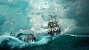 a ship on stormy seas